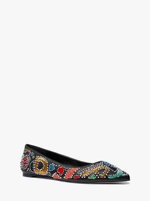 MICHAEL Michael Kors Mila Party Bead Leather Pointed-Toe Flat