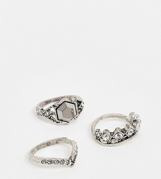 Reclaimed Vintage inspired ring pack with stone detail