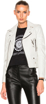 Saint Laurent Leather Jacket with Logo and Brooch in White.