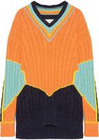Maison Margiela Oversized Color-block Cable-knit Cotton-blend Sweater - Orange