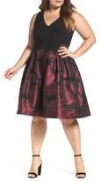 Xscape Evenings Plus Size Women's Floral Brocade Fit & Flare Dress