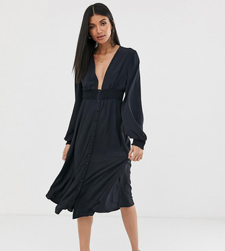 Asos Tall DESIGN Tall long sleeve button through midi dress with shirred waist-Black