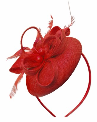 Caprilite Bead Round Pillbox Loop Sinamay Headband Fascinator for Women Wedding Ascot Races[Red]