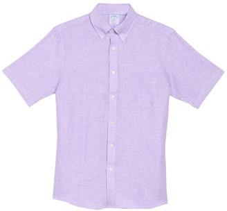 Brooks Brothers Solid Short Sleeve Regent Fit Linen Shirt