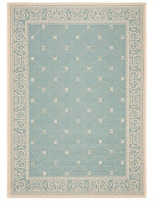 Blue & Cream Astoria Grand Beasley Blue/Cream Indoor/Outdoor Area Rug Astoria Grand Rug Size: Rectangle 4' x 5'7""