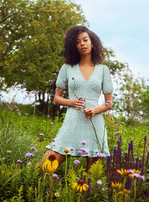 Miss Selfridge Sage Green Fit and Flare Dress