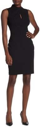 Calvin Klein Twisted Mock Neck Key Hole Sheath Dress