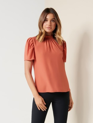 Ever New Tara High-Neck Puff Sleeve Blouse