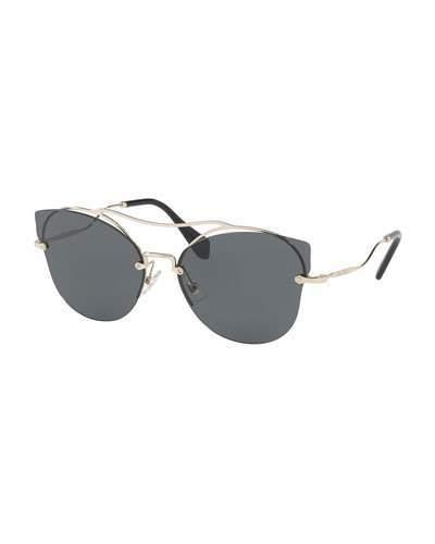 Miu Miu Scenique Rimless Monochromatic Brow-Bar Sunglasses, Light Gold