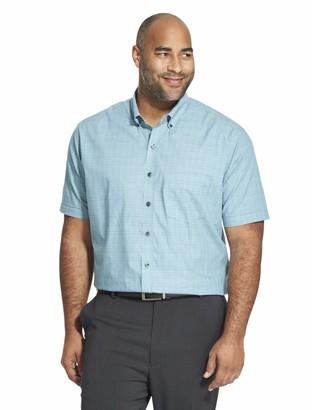 Van Heusen Men's Big and Tall Flex Short Sleeve Button Down Check Shirt Legacy Black X-Large Tall