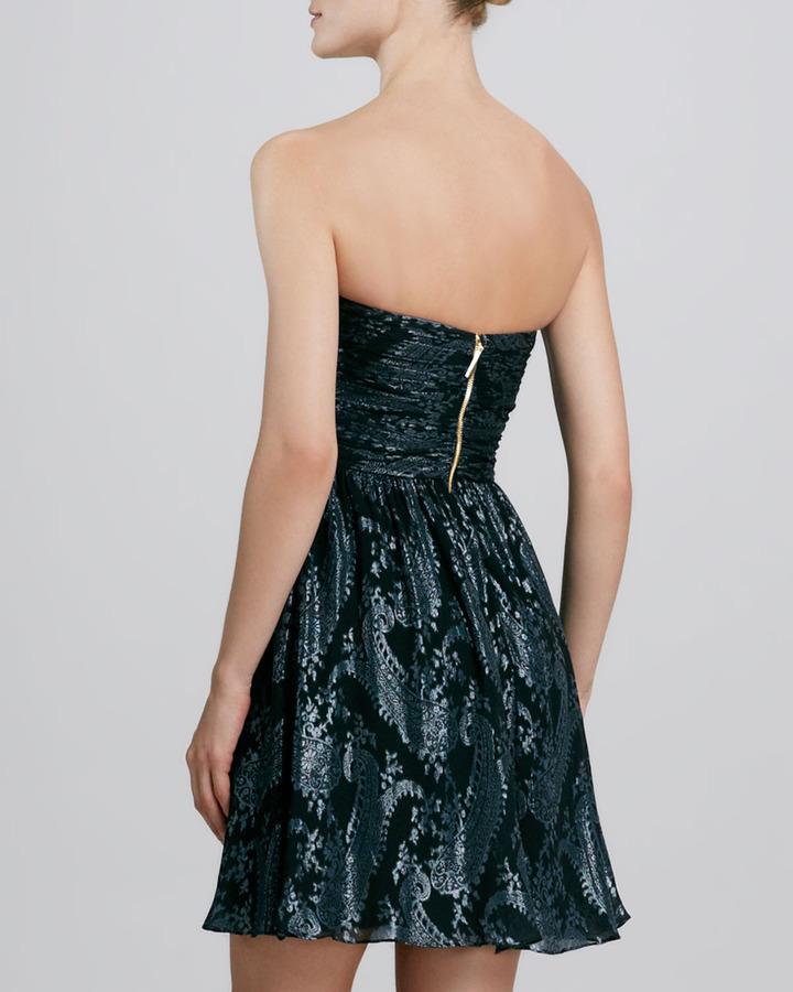 Erin Fetherston ERIN Paisley-Print Metallic Cocktail Dress