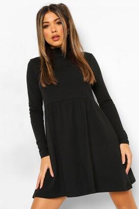 boohoo Roll Neck Long Sleeve Skater Dress