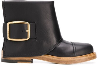Alexander McQueen Buckle-Detail Ankle Boots