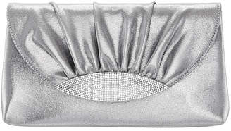 Nina Kerri Ruched Satin Crystal Embellished Flap Clutch