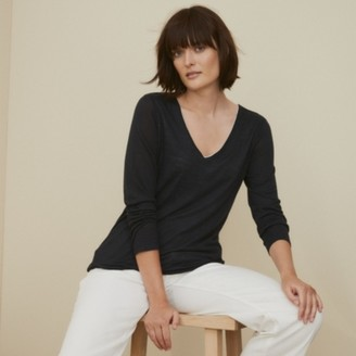 The White Company Jersey V-Neck Double-Layer T-Shirt , Navy/White, 4