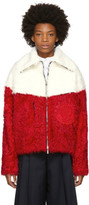 Moncler Gamme Rouge Red and White Shearling Jacket