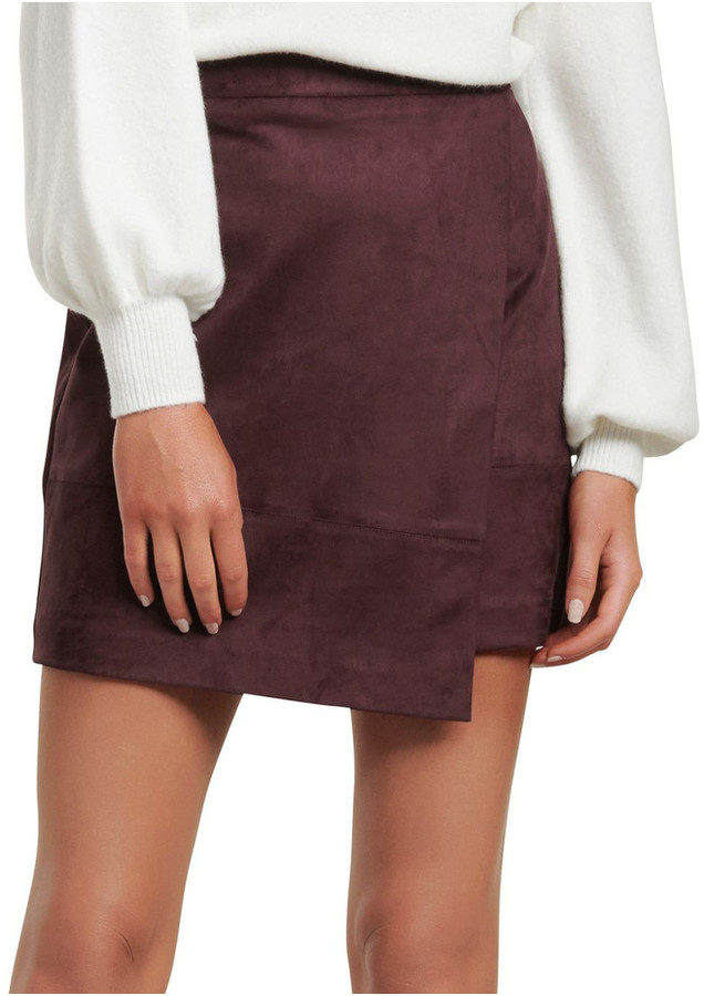 Forever New Tiffany Suedette Wrap Mini Skirt Deep