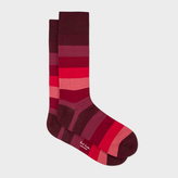 Paul Smith Men's Burgundy And Red Tonal Stripes Socks