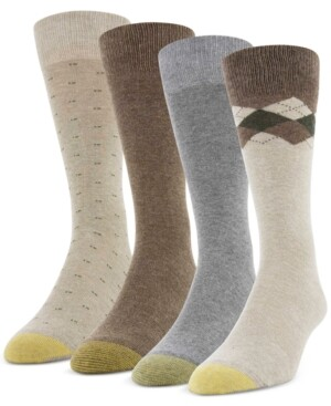 Gold Toe Men's 4-Pack Clock Argyle Special Socks