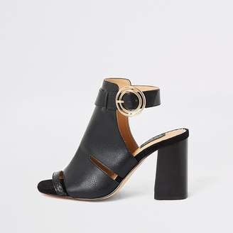 River Island Black cutout open toe heeled wide fit boots