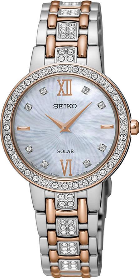 Seiko Women's Solar Two-Tone Stainless Steel Bracelet Watch 28mm SUP362