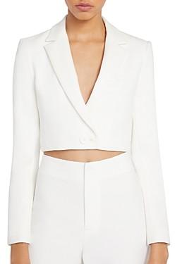 Alice + Olivia Macey Notch-Collar Cropped Blazer