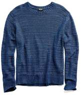 Todd Snyder Linen Delave Drop Stitch Crew in Navy