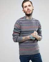 Barbour Jumper With Fair Isle Pattern In Grey
