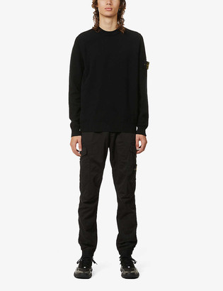 Stone Island Brand-patch crewneck wool-blend jumper