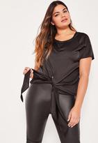 Missguided Plus Size Exclusive Black Satin Tie Front Top