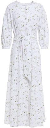 Olivia Rubin Annie Belted Floral-print Cotton Midi Dress