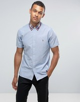 Polo Ralph Lauren Oxford Shirt Short Sleeve Custom Regular Fit In Blue