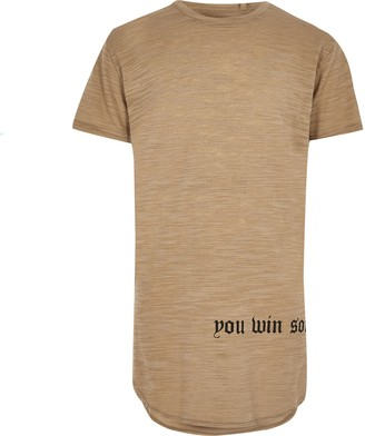 River Island Boys Beige 'Win Some Lose Some' print T-shirt
