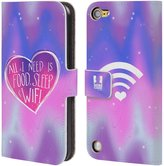 Head Case Designs Wifi Love Leather Book Wallet Case Cover for iPod Touch 5th Gen / 6th Gen