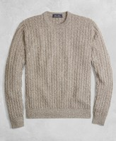 Brooks Brothers Golden Fleece 3-D Knit Cashmere Cable-Stitch Crewneck