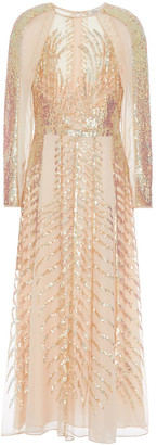 Temperley London Dusk Sequined Tulle-paneled Silk-chiffon Midi Dress