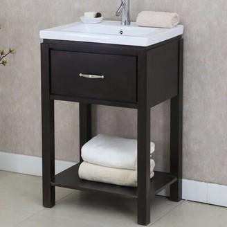 "24"" Single Bathroom Vanity Set with Open Shelf InFurniture Base Finish: Dark Brown"