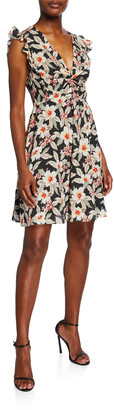 Rebecca Taylor Kamea Sleeveless V-Neck Floral Dress