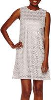 Scarlett Sleeveless Chevron Lace Fit-and-Flare Dress - Petite