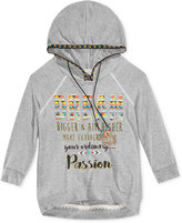 Beautees Girls' Tapestry Trim Hoodie with Necklace