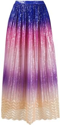 Marco De Vincenzo Colour-Block Print Pleated Skirt