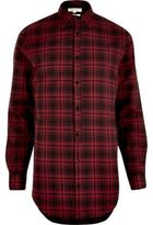 River Island MensRed longline check shirt