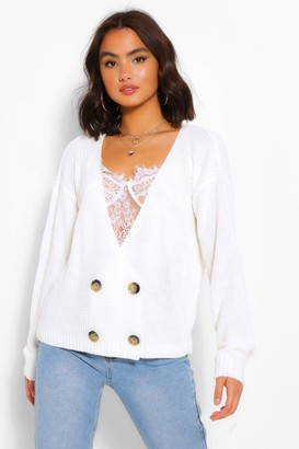 boohoo Double Breasted Button Cardigan