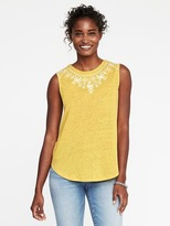 Old Navy Floral-Embroidered Linen-Blend Tank for Women