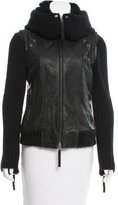 Elizabeth and James Knit-Accented Leather Jacket