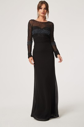Little Mistress Georgie Black Hand Embellished Maxi Dress