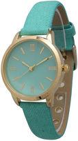 OLIVIA PRATT Olivia Pratt Womens Gold-Tone Mint Denim Faux Leather Strap Watch 14086
