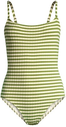 Solid And Striped The Nina Ribbed Stripe One-Piece Swimsuit