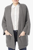 7 For All Mankind Ribbed Cardigan In Light Charcoal