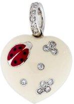 Aaron Basha Puffy Ladybug Heart Diamond Charm